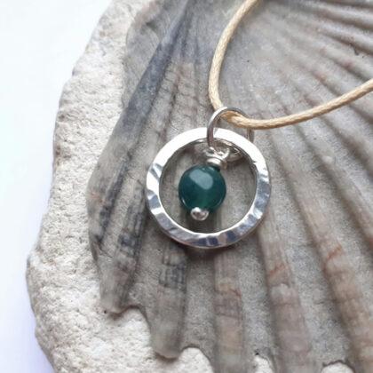 Emerald Silver Circle Necklace
