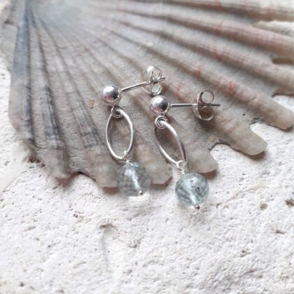 Aquamarine Navette Dangle Studs with Sterling Silver