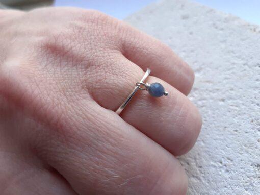 Sapphire Dangle Stone Silver Rings