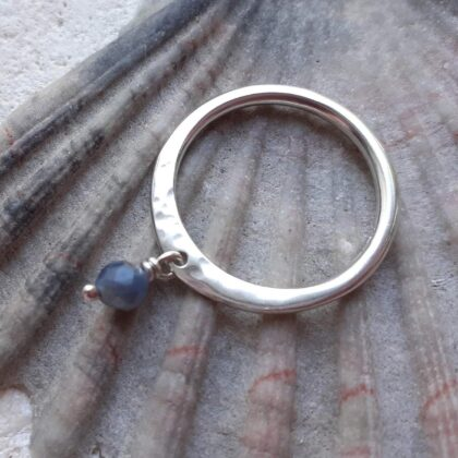 Sapphire Dangle Stone Silver Rings