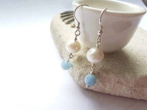 Aquamarine and Freshwater Pearl Earrings