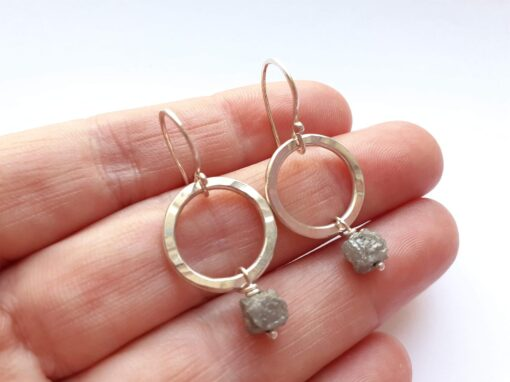 Raw Diamond and Textured Silver Circle Earrings