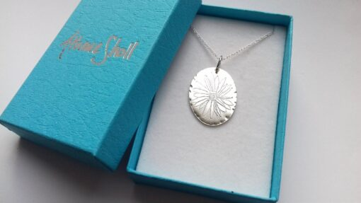 Textured Oval Daisy Flower Sterling Silver Pendant