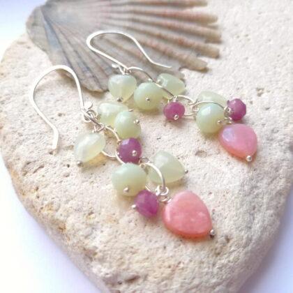 Opal Hearts, Ruby adverutine silver dangle earrings