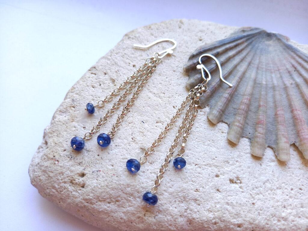 Kyanite Chain Silver Earrings