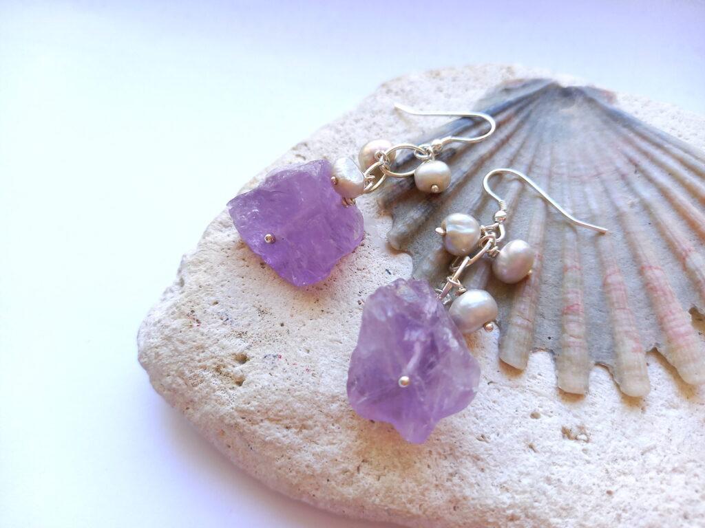 Amethyst and Pearl Chain Waterfall Earrings