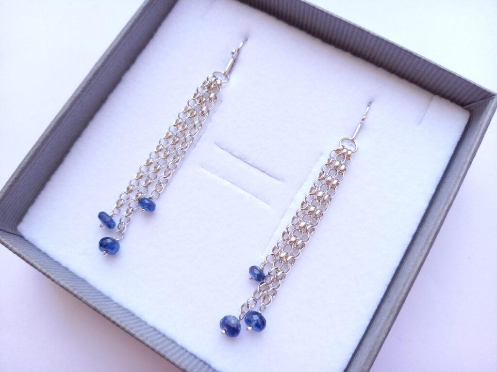 Kyanite Semi Precious Stone Chain Dangle Earrings