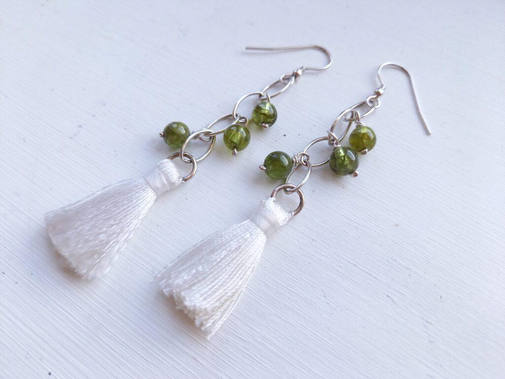 Peridot and White Tassel Navette Earrings